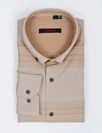 I Party beige hue stripe party wear shirt