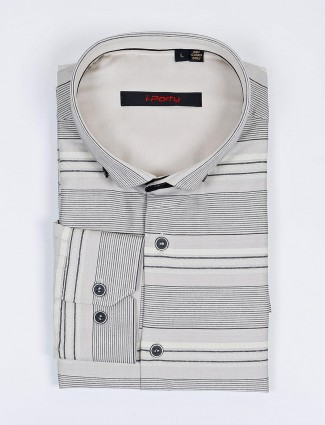 I Party beige stripe cotton fabric party shirt