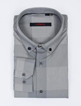 I Party buttoned down checks grey shirt