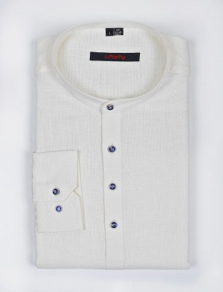 I Party cream hue linen fabric solid shirt