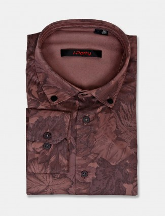 I Party light brown full sleeves printed shirt