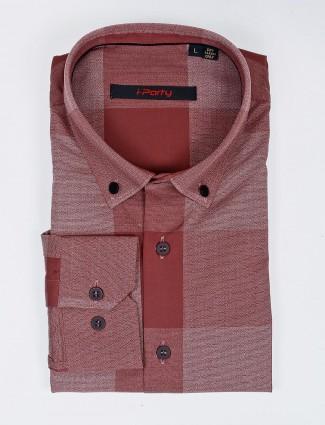 I Party maroon hue checks pattern shirt