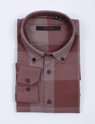 I Party maroon stripe full sleeves shirt