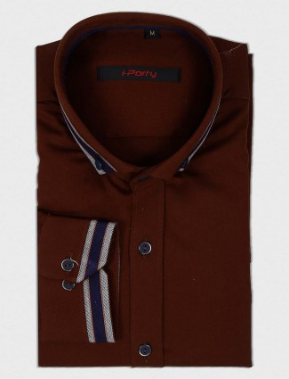 I Party party wear brown solid shirt