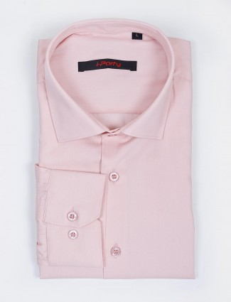 I Party party wear solid light pink color shirt