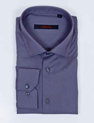 I Party purple hue solid cotton fabric shirt