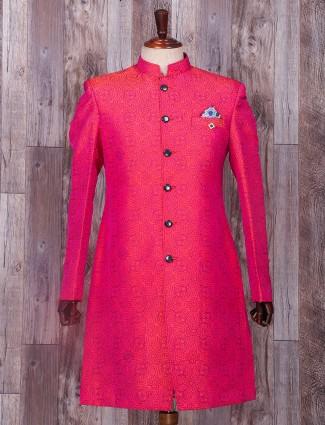 Impressive magenta silk wedding wear indo western