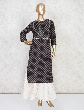 Indian block printed black sharara suit