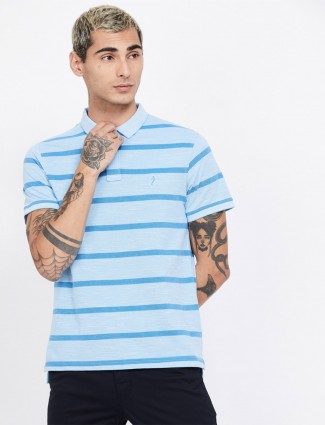 Indian Terrain aqua stripe casual t-shirt