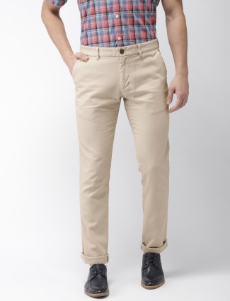 Indian Terrain beige colored solid trouser
