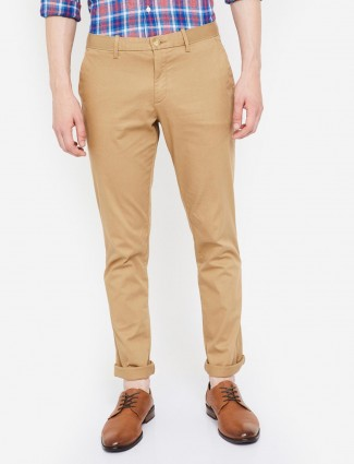 Indian Terrain khakhi solid casual wear trouser