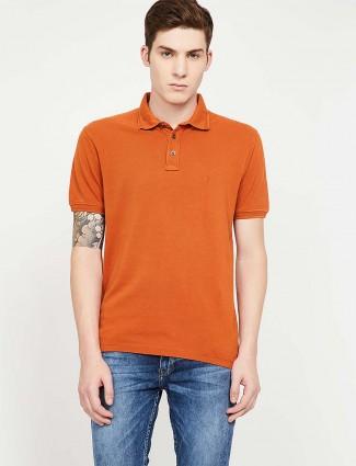 Indian Terrain casual wear solid orange t-shirt