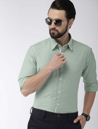 Indian Terrain light olive color solid cotton shirt