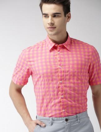 Indian Terrain magenta checks cotton shirt