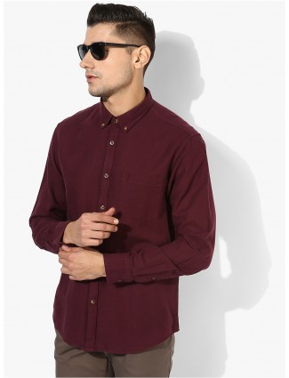 Indian Terrain maroon cotton shirt