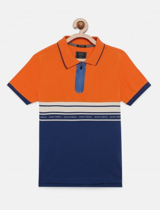 Indian Terrain orange and navy stripe t-shirt
