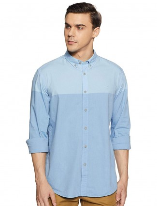 Indian Terrain sky blue color solid shirt