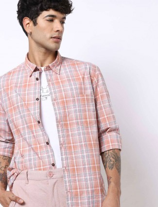 Indian Terrain slim fit checks peach shirt