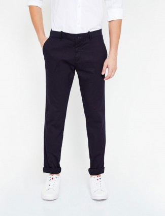 Indian Terrain solid black cotton trouser