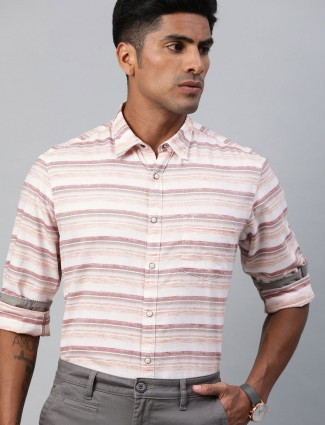 Indian Terrain stripe cream slim collar shirt