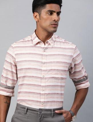 Indian Terrain stripe cream slim collar shirt