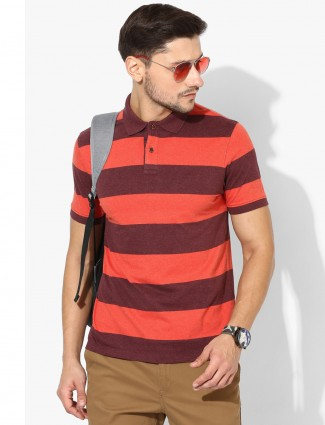 Indian Terrain stripe orange t-shirt