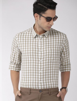 Indian Terrain white and beige cotton shirt