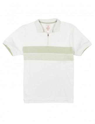 Indian Terrain white stripe polo t-shirt
