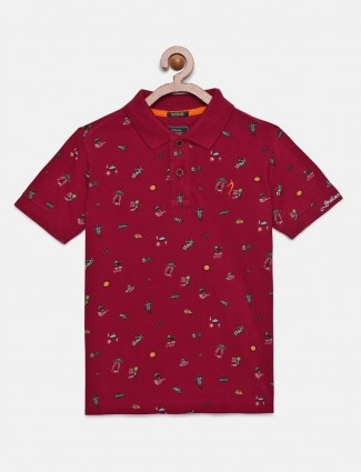 Indian Terrain wine maroon printed t-shirt