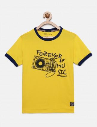 Indian Terrain yellow printed round neck t-shirt