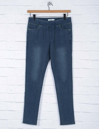Indigo blue colored solid jeggings