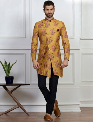 Indo western in mustard yellow