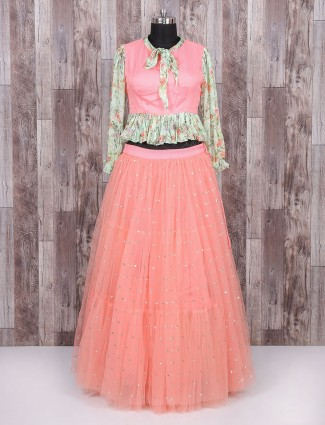 Indo western pink color party wear lehenga choli
