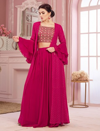 Indo western salwar suit with shrug in georgette