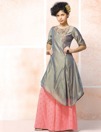 Indo western style grey punjabi sharara suit