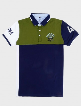 Instinto green and navy solid t-shirt