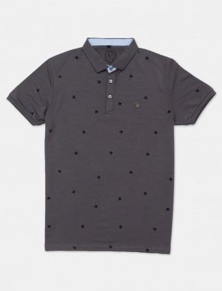 Instinto grey printed mens polo t-shirt