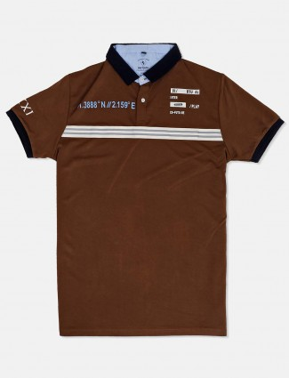 Instinto printed brown mens t-shirt