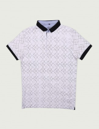Instinto white printed cotton t-shirt