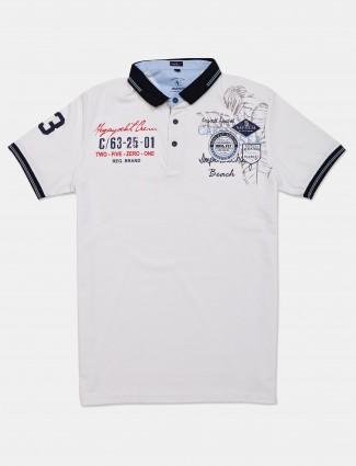 Instinto white printed polo t-shirt