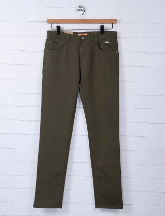 Irony solid olive denim casual jeans