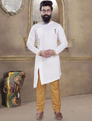 Ivory white color plain kurta suit