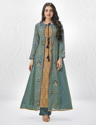 Jacket style salwar suit in mint green color