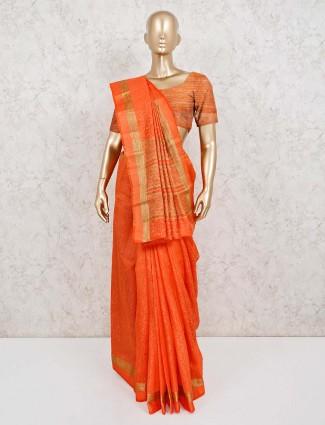 Jacquard design cotton silk saree in orange