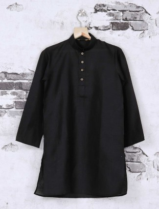 Jet black festive kurta suit for boys