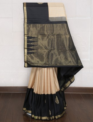 Kanjivaram silk cream and black saree