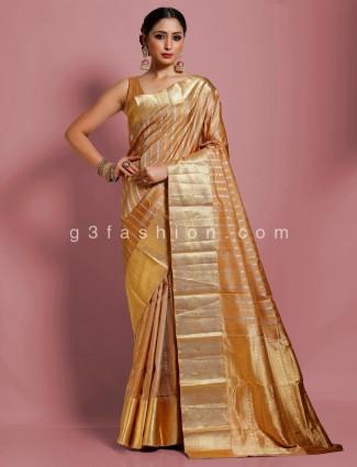 Kanjivaram silk designer brown zari weaving saree