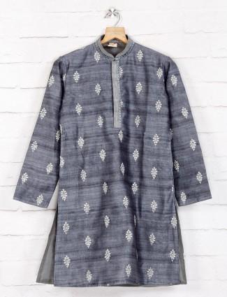 Khadi cotton grey festive wear kurta suit