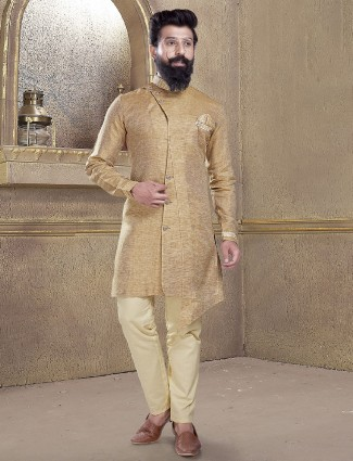 Khaki color solid kurta suit