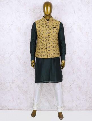khaki hued silk fabric printed waistcoat set